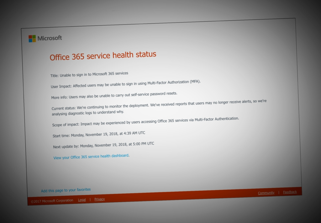 Office 365, Azure users are locked out after a global multi-factor