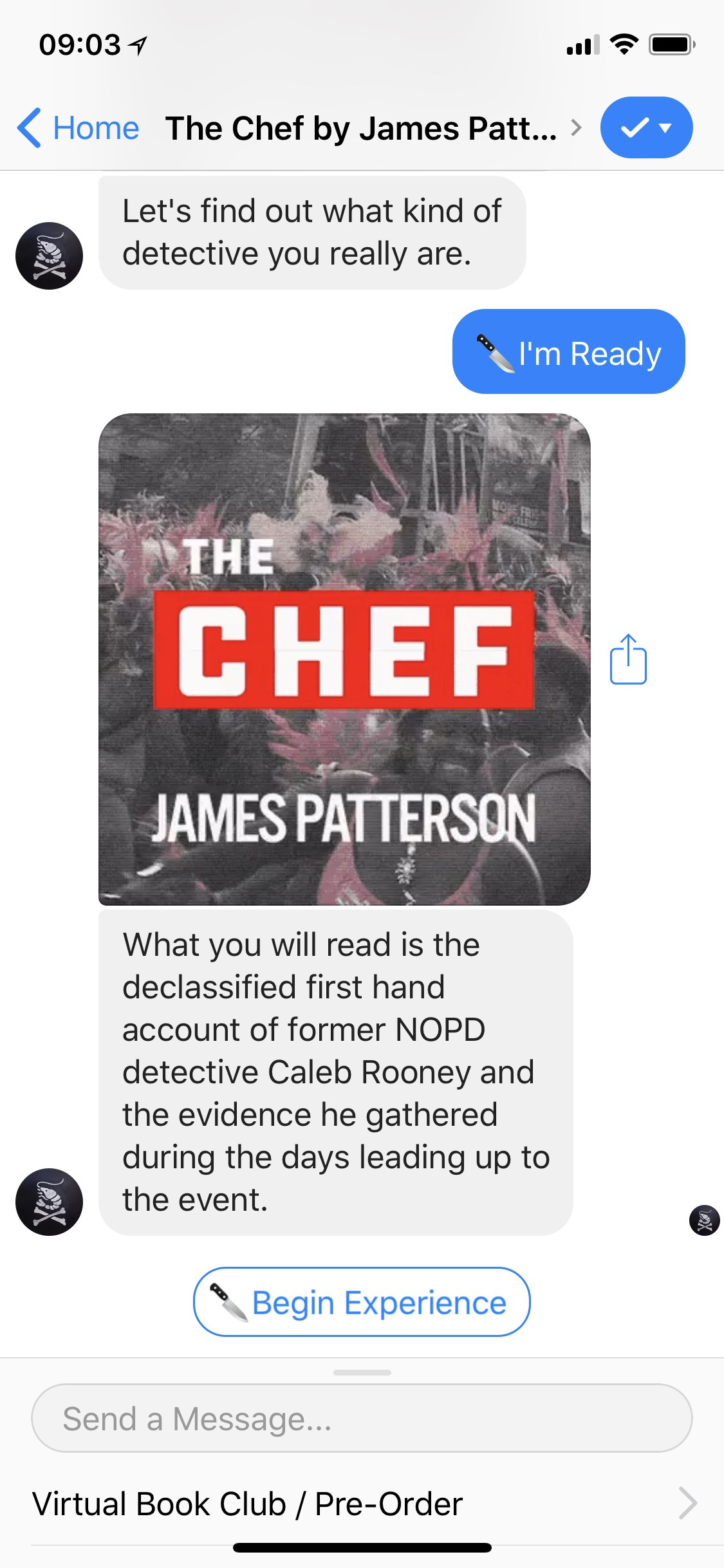 James Patterson released a work of interactive fiction on Facebook Messenger