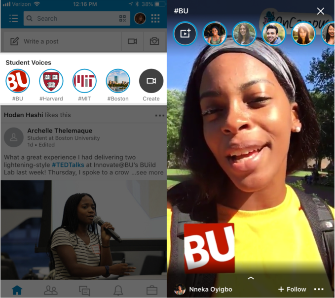 Techmeme: LinkedIn launches Student Voices, its take on Snapchat