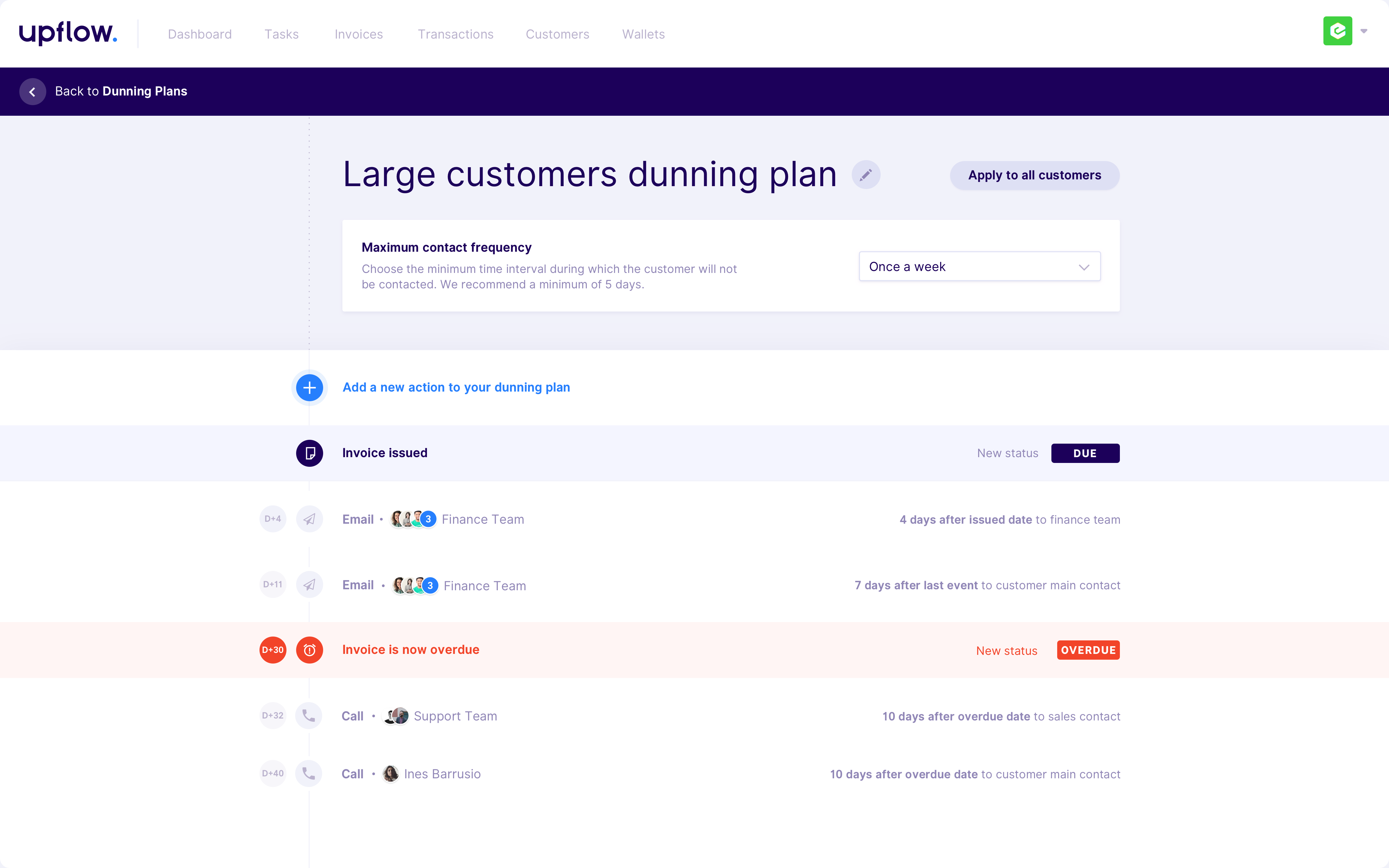 Upflow turbocharges your invoices Upflow     Dunning Setting Hover Edit 3x