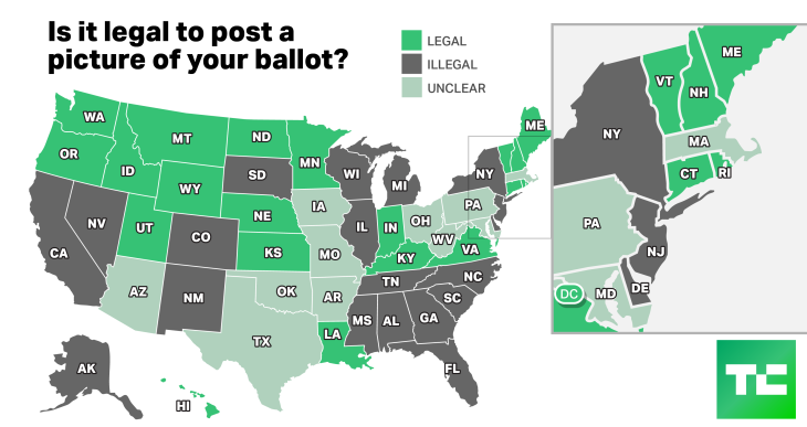 Us State Political Map.Is It Legal To Post A Votie In Your State Check This Map Techcrunch