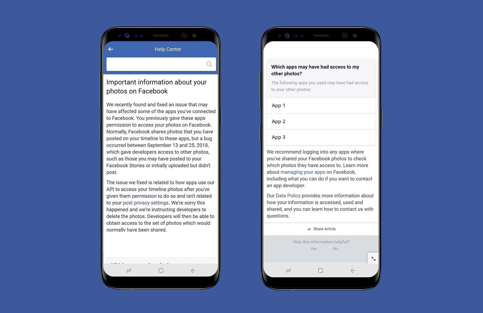 Facebook Photo Bug Notification - New Facebook bug exposed private photos of 6.8 millions of users