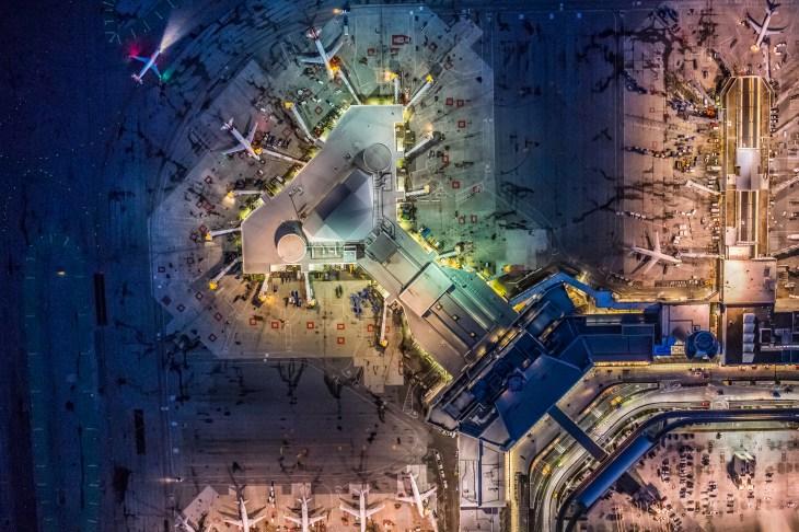 Aerial night view of San Francisco International Airport