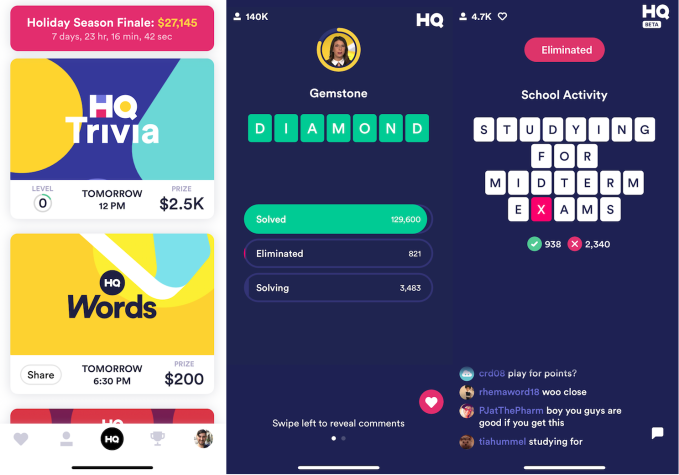 HQ Trivia launches HQ Words as reinstalled CEO seeks a game