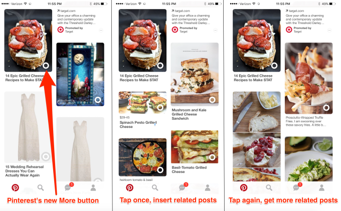 - pinterest more button screenshots - My product launch wishlist for Instagram, Twitter, Uber and more – TechCrunch