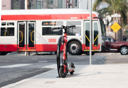 A Scoot scooter with the company's new locks in San Francisco. Photo via Scoot.