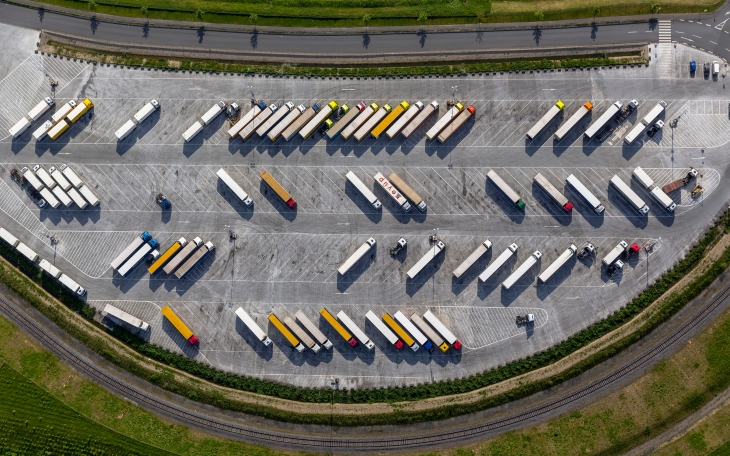 Aerial view, truck parking at IKEA logistics center Ellingshausen, Mengede, Dortmund, Ruhr district, North Rhine-Westphalia, Germany