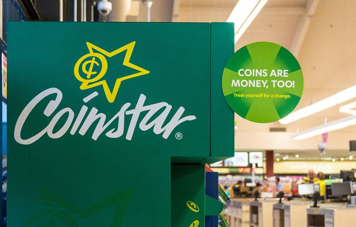 Coinstar kiosks in a large supermarket. The typical Coinstar