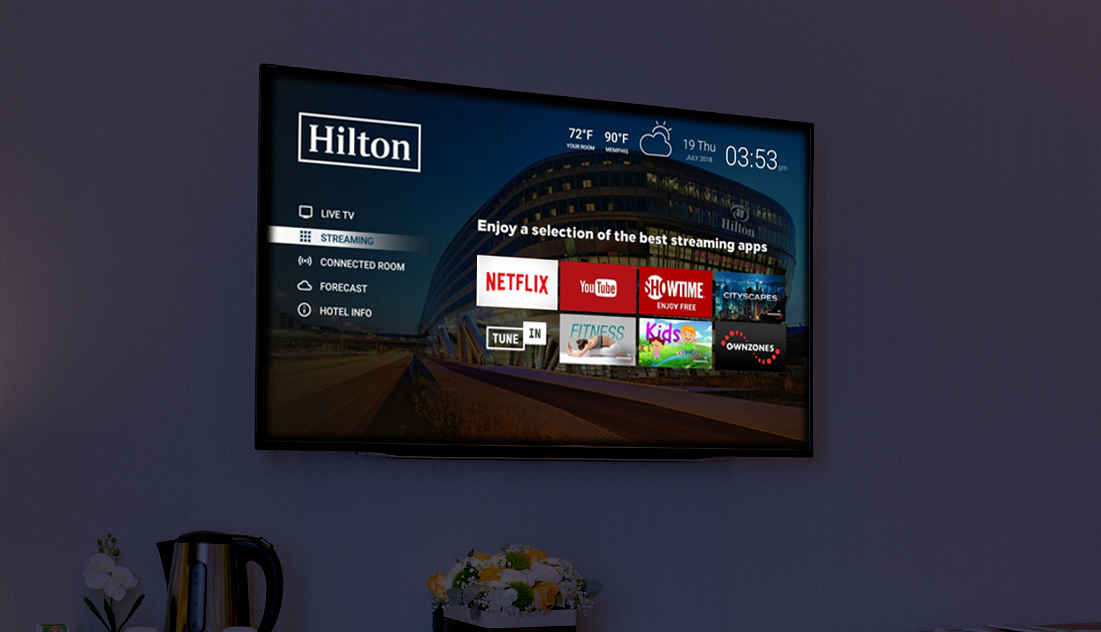 Hilton and Netflix partner on in-room streaming, controlled