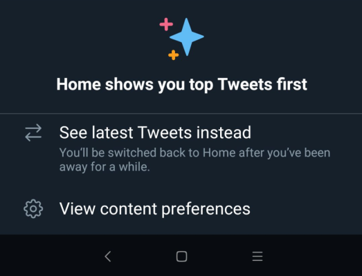 Twitter's de-algorithmizing 'sparkle button' rolls out on Android Screen Shot 2019 01 15 at 1