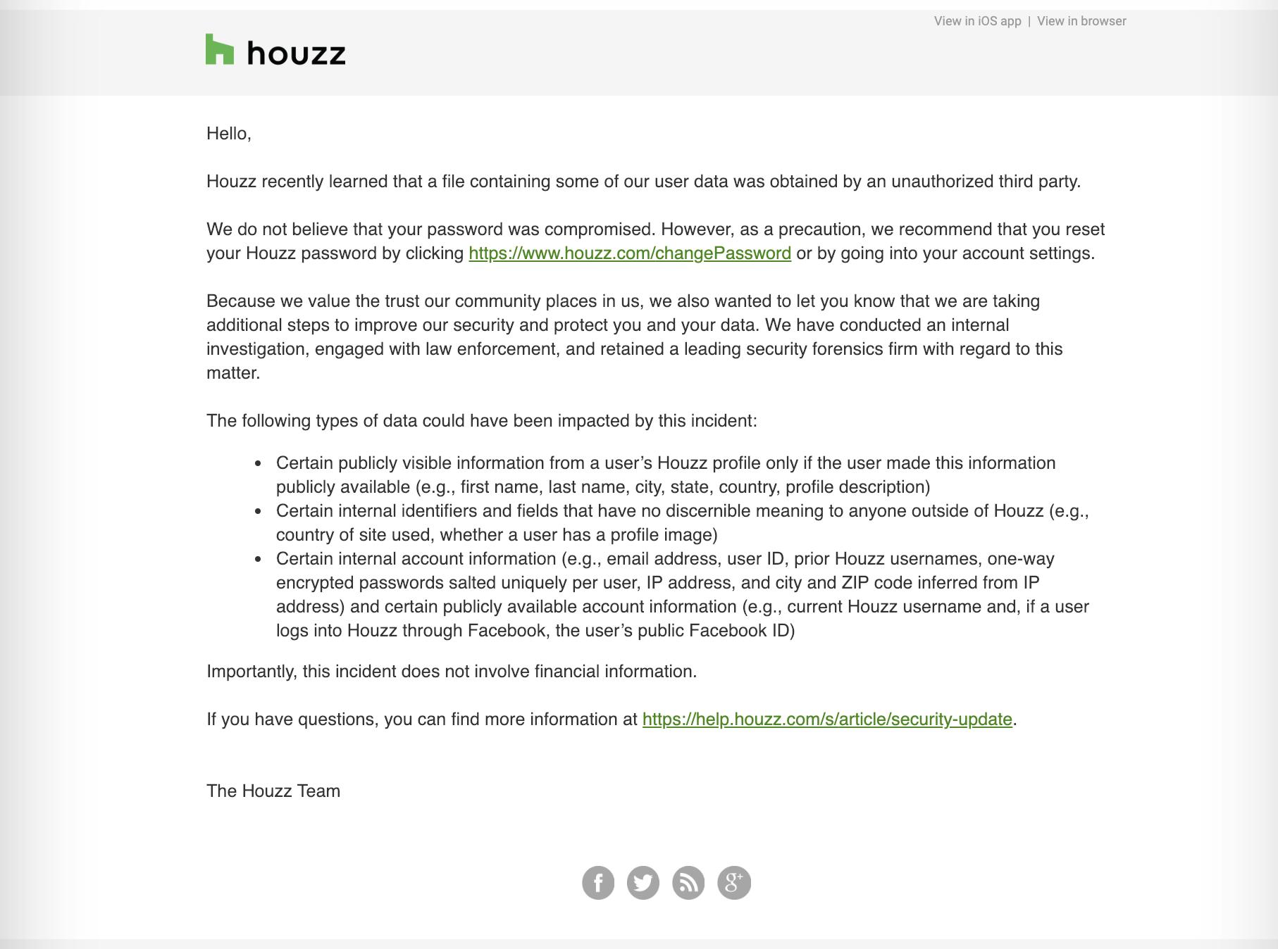 Houzz resets user passwords after data breach