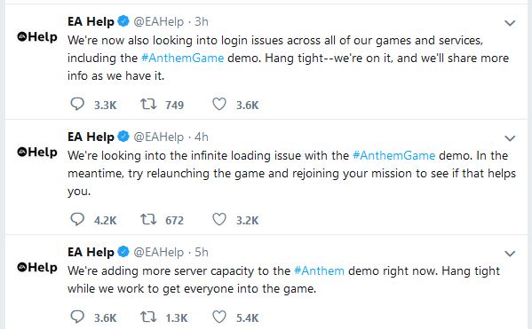 BioWare's ambitious Anthem is off to a rough start as players bring servers to their knees eahelphelp