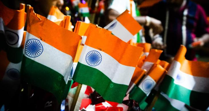Close-Up Of Indian Flag Models For Sale At Market