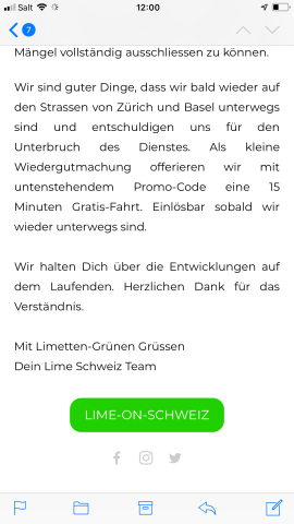 Lime halts scooter service in Switzerland after possible