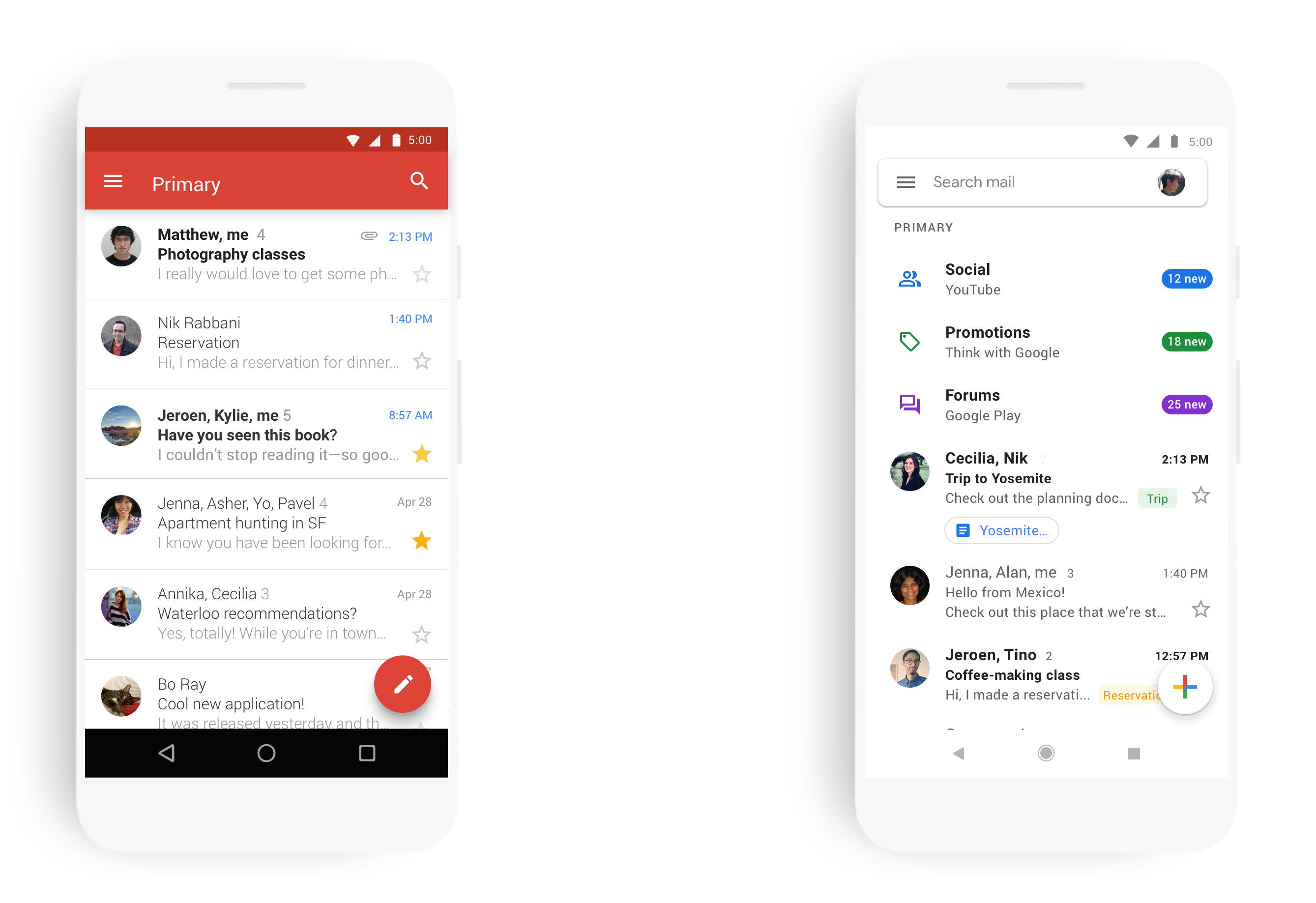 Gmail on mobile gets a fresh coat of Material Design paint