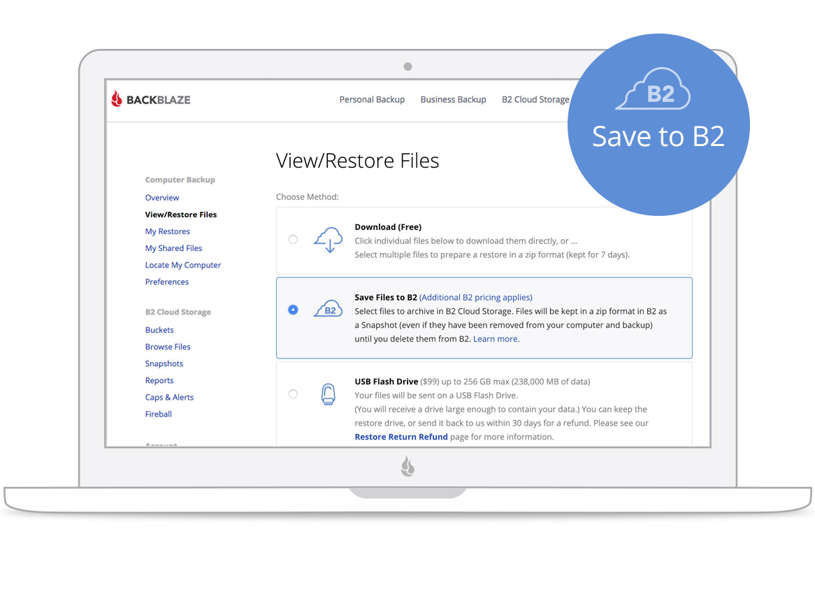 Backblaze updates its backup service v6 screen save to b2