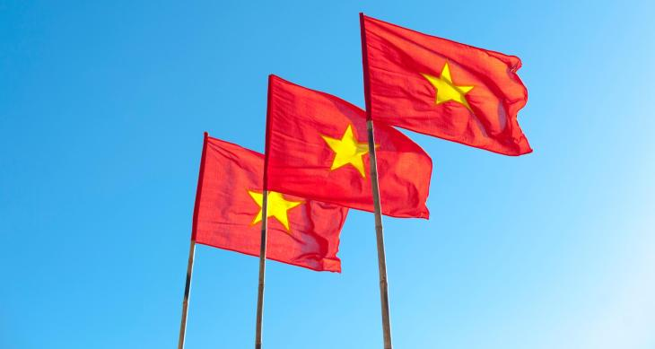 Three Vietnamese national flags