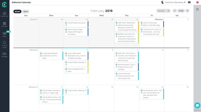 ClearVoice editorial calendar