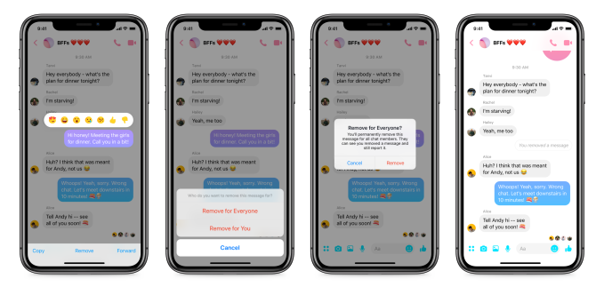 Facebook now lets everyone unsend messages for 10 minutes | TechCrunch