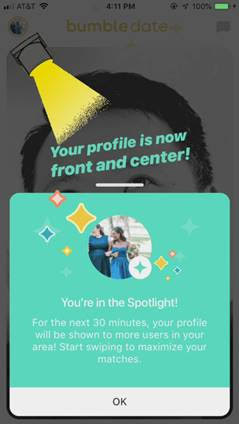 Bumble launches Spotlight, its dangle model of Tinder's Boost