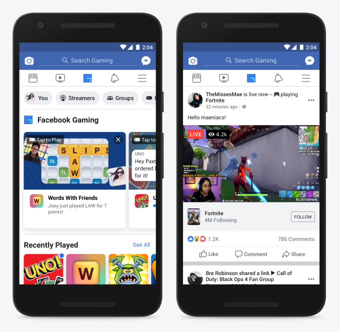 photo image In a challenge to Twitch and YouTube, Facebook adds 'Gaming' to its main navigation