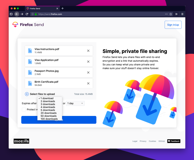 Mozilla launches its free, encrypted file-sharing service