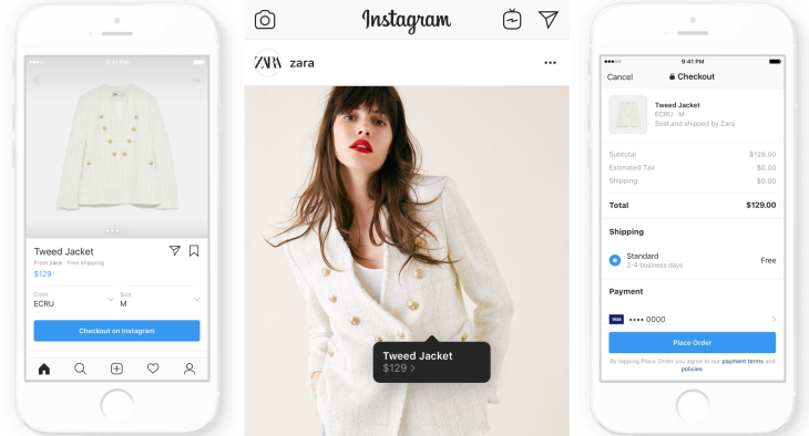 Instagram shopping checkout example.