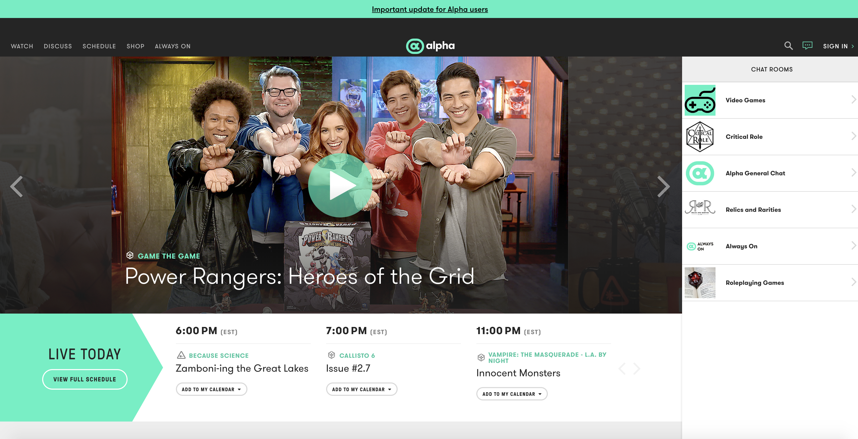 Alpha, the geek-friendly streaming service
