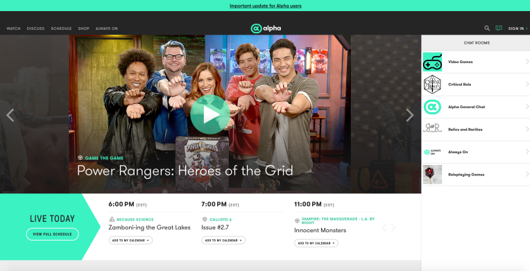 Alpha, the geek-friendly streaming service from Nerdist and Geek & Sundry, is shutting down thumbnail