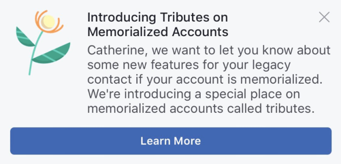 "Facebook is introducing a new ""Tributes"" section for memorialized accounts"