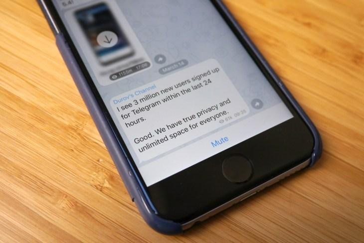 تلگرام در عرض 24 ساعت 3 میلیون کاربر جدید را ثبت کرد