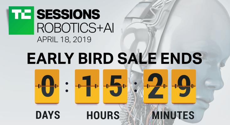 photo image Last day to save $100 on TC Sessions: Robotics + AI 2019