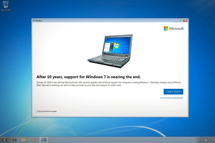 Microsoft warns Windows 7 users of looming end to security