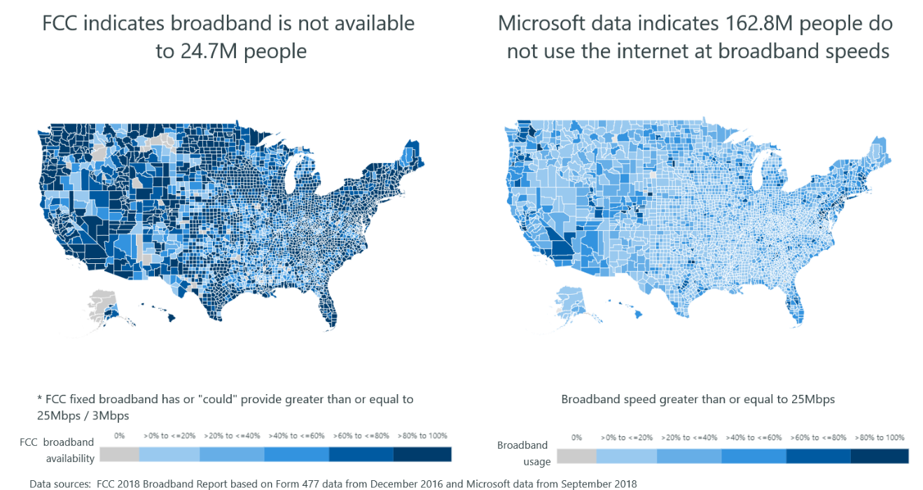 Microsoft says its data shows FCC reports massively overstate broadband adoption 2 US maps