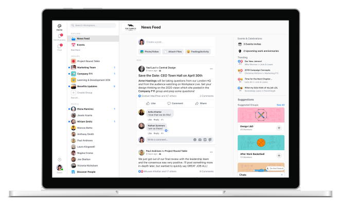 QnA VBage Workplace, Facebook's enterprise edition, gets a reboot to boost activity and cut down on noise