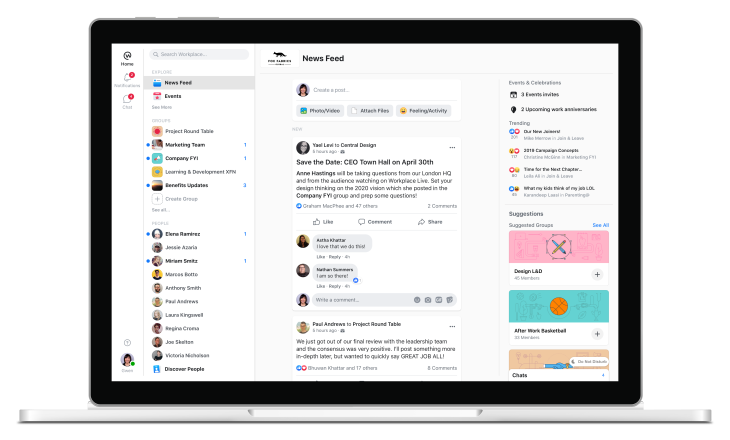 Workplace, Facebook's enterprise edition, gets a reboot to