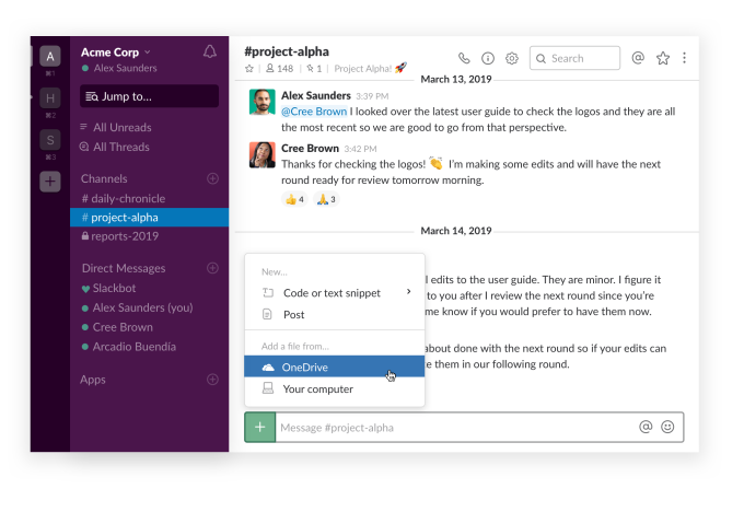 Slack integration with Office 365 one more step toward total enterprise integration Slack integration with Office 365 one more step toward total enterprise integration OneDrive File Upload Slack Desktop