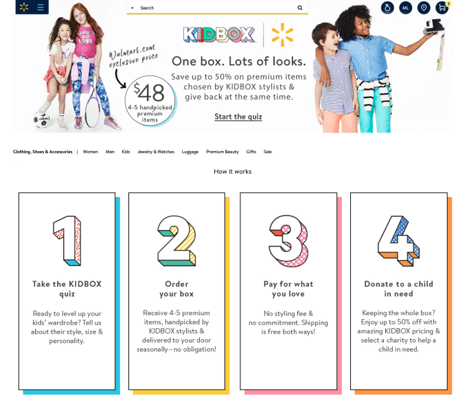 Walmart partners with subscription-based children's clothing startup, Kidbox