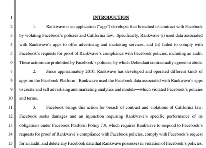 Facebook sues analytics firm Rankwave over data misuse