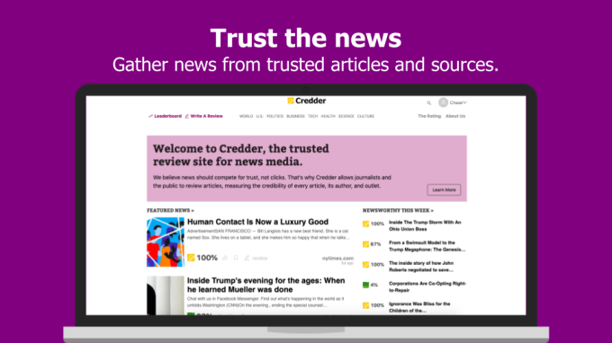 Credder offers Rotten Tomatoes-style ratings for the news