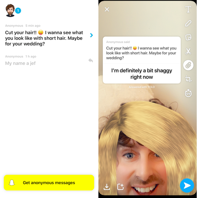 1 app YOLO Q&A is the Snapchat platform's 1st hit | TechCrunch