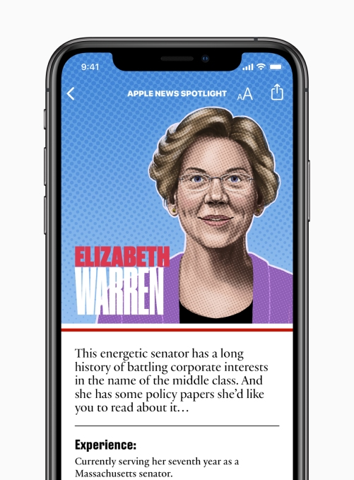 Apple News candidate guide Elizabeth Warren 062619
