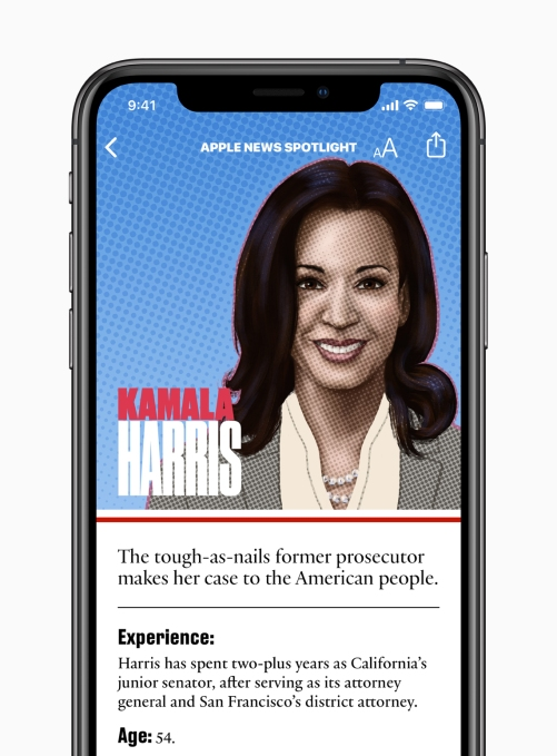 Apple News candidate guide Kamala Harris 062619