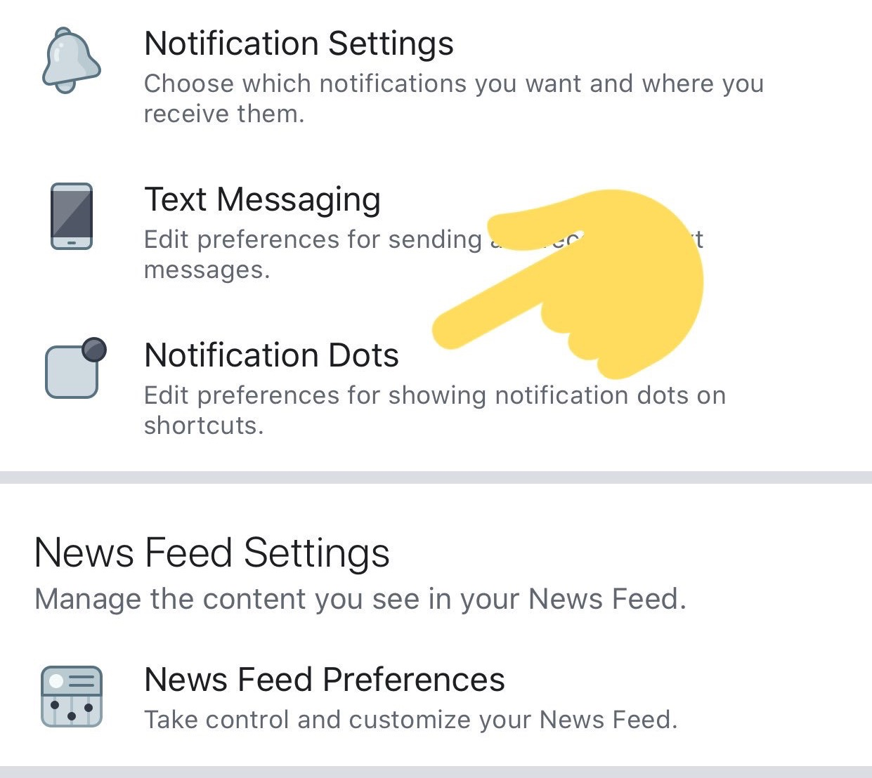 Nastavenia upozornení Facebook