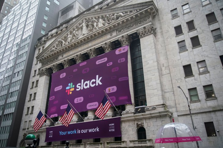 Slack's value rockets as stock closes up 48 5% in public