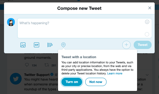 Tweets Twitter location tagging feature on its website