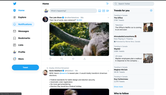 twitter desktop redesign test