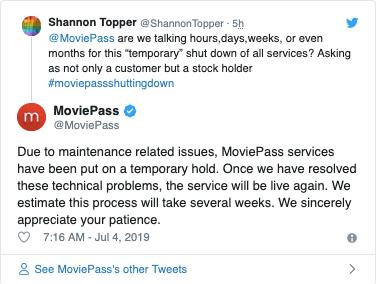 Screenshot by MoviePass & # 39; Twitter Replies