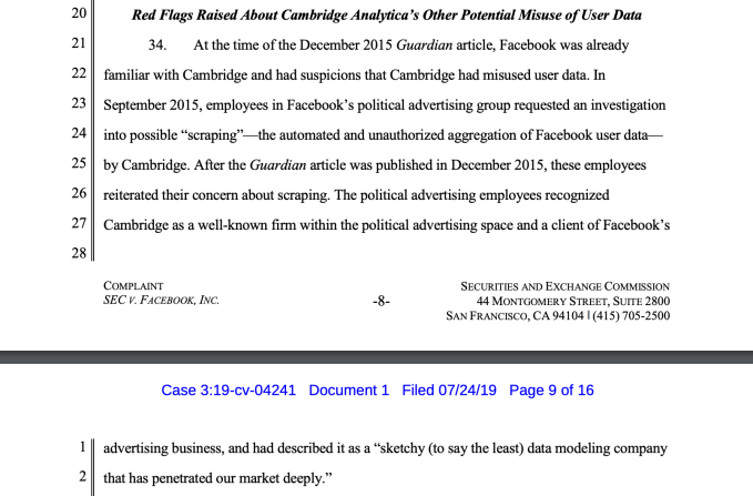 """Screenshot 2019 07 25 at 11.43.17 - Facebook ignored staff warnings about """"sketchy"""" Cambridge Analytica in September 2015"""
