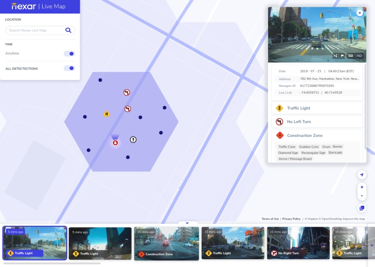 Nexar's Live Map is like Street View with pictures from 5 minutes